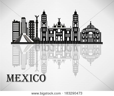 Mexico city skyline detailed silhouette. Vector illustration.