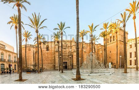 View on Almeria cathedral from Plaza de la Catedral in Almeria Andalusia Spain