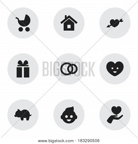 Set Of 9 Editable Relatives Icons. Includes Symbols Such As Hoop, Love, Heart And More. Can Be Used For Web, Mobile, UI And Infographic Design.