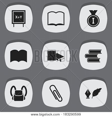 Set Of 9 Editable University Icons. Includes Symbols Such As Dictionary, Literature, Blackboard And More. Can Be Used For Web, Mobile, UI And Infographic Design.