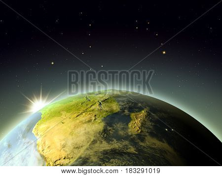 South Africa From Space During Sunrise