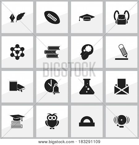 Set Of 16 Editable Education Icons. Includes Symbols Such As Library, School Bell, Bookmark And More. Can Be Used For Web, Mobile, UI And Infographic Design.