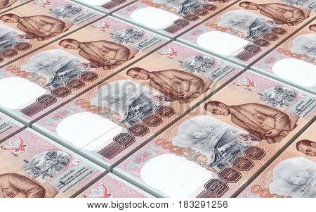 Thai baht bills stacked background. 3D illustration