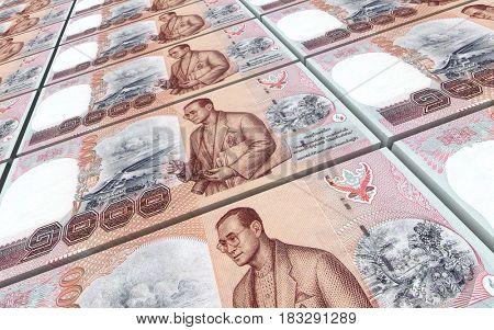 Thai baht bills stacked background. 3D illustration