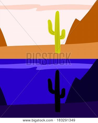 Lonely saguaro cactus in the desert, day and night view, vector background