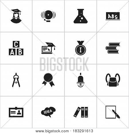 Set Of 16 Editable Science Icons. Includes Symbols Such As Ring, Alphabet Cube, Mind And More. Can Be Used For Web, Mobile, UI And Infographic Design.