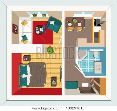 Modern graphic apartment top view - living room, kitchen, hall and bathroom. Stylish colorful furniture. Apartment room plan. Flat style vector illustration.