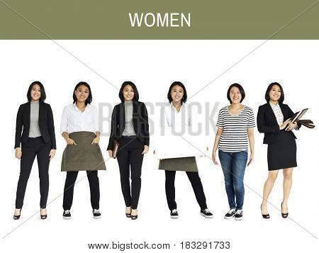 Asian Women Set Gesture Standing Studio Portrait Isolated