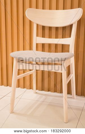 Single Wooden Chair In Minimal Room Style stock photo