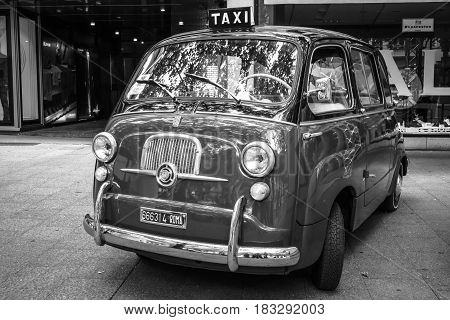 BERLIN - JUNE 14 2015: Mini MPV Fiat 600 Multipla. Black and white. The Classic Days on Kurfuerstendamm.