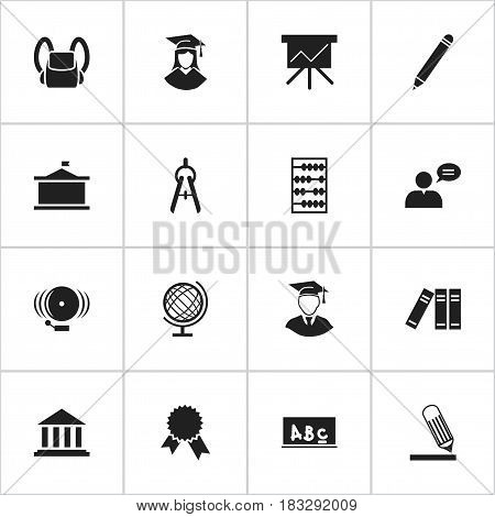Set Of 16 Editable School Icons. Includes Symbols Such As Math Tool, Univercity, Writing And More. Can Be Used For Web, Mobile, UI And Infographic Design.