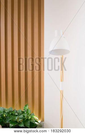Contemporary Wooden Light In Minimal Room Style stock photo