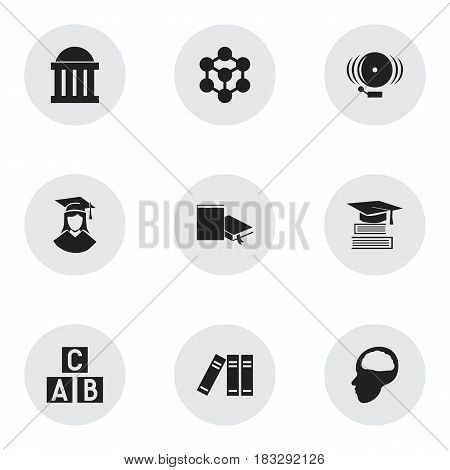 Set Of 9 Editable University Icons. Includes Symbols Such As Courtroom, Ring, Graduated Female And More. Can Be Used For Web, Mobile, UI And Infographic Design.