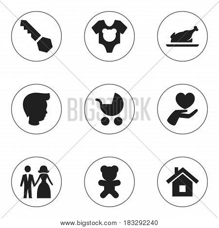 Set Of 9 Editable Relatives Icons. Includes Symbols Such As Lock, Perambulator, Fried Chicken And More. Can Be Used For Web, Mobile, UI And Infographic Design.