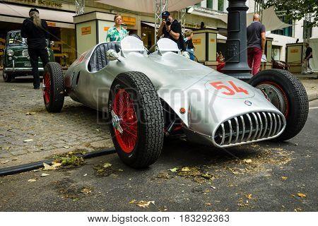BERLIN - JUNE 14 2015: Custom race car based Alfa Romeo and engine of BMW 328 1951. Designer Karl Baum pilot Willibald Heller. The Classic Days on Kurfuerstendamm.