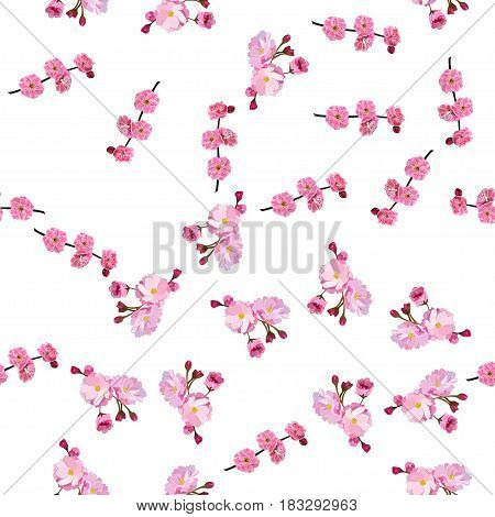 Very high quality original trendy vector seamless pattern with Japanese plum blossom or red cherry flower