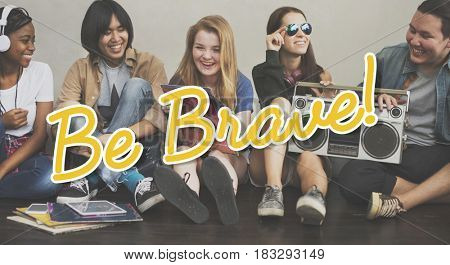 Brave overlay word young people