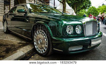 BERLIN - JUNE 14 2015: Full-size luxury car Bentley Brooklands 2008. The Classic Days on Kurfuerstendamm.