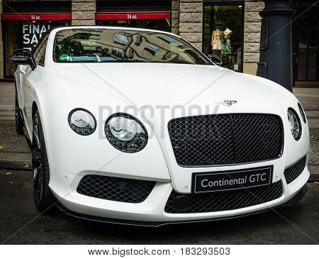BERLIN - JUNE 14 2015: Luxury car Bentley Continental GTC. The Classic Days on Kurfuerstendamm.