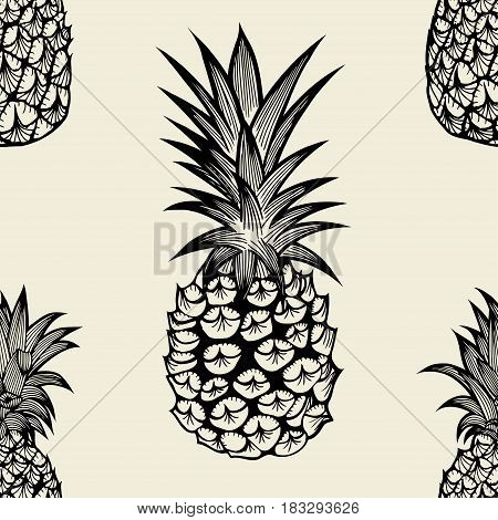 Seamless pattern with pineapples. Graphic stylized drawing. Vector illustration