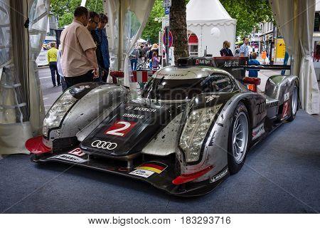 BERLIN - JUNE 14 2015: Racing car Le Mans Prototype (LMP) Audi R18 TDI Ultra 2011. Designer Ulrich Baretzky. The Classic Days on Kurfuerstendamm.