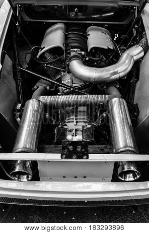 BERLIN - JUNE 14 2015: Engine of a sports car Jim Turner GTO 1984. Black and white. The Classic Days on Kurfuerstendamm.
