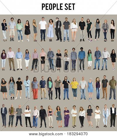 Various of diversity people full body standing with smiling on background