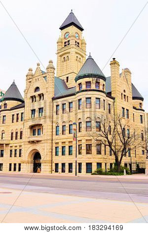 March 20, 2017, in Wichita, KS:  Old City Hall Building that has Victorian stone architecture and is a historical landmark taken in Downtown Wichita, KS which is now the Wichita Historical Museum where people can tour the building and museum