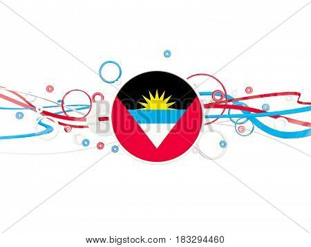 Flag Of Antigua And Barbuda, Circles Pattern With Lines