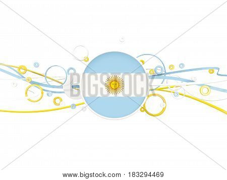 Flag Of Argentina, Circles Pattern With Lines