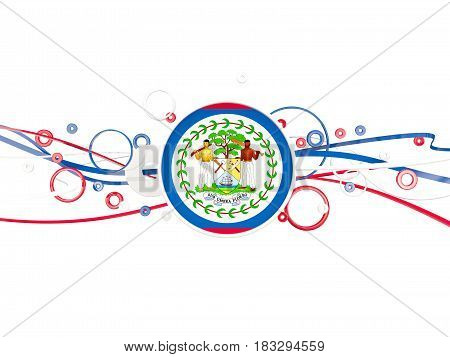 Flag Of Belize, Circles Pattern With Lines