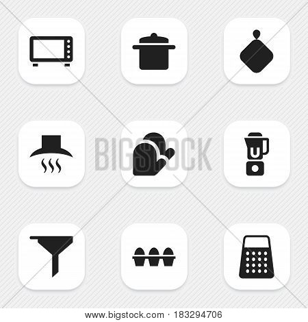 Set Of 9 Editable Meal Icons. Includes Symbols Such As Cookware, Shredder, Egg Carton And More. Can Be Used For Web, Mobile, UI And Infographic Design.