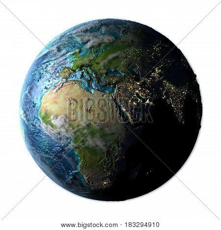 Emea Region On Detailed Planet Earth