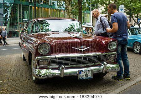 BERLIN - JUNE 14 2015: Full-size car Chevrolet Bel Air (Second generation) 1956. The Classic Days on Kurfuerstendamm.
