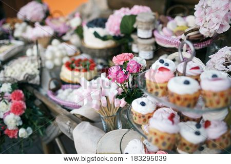 Candy bar. Banquet table full of berries and an assortment of sweets. pie and cake. wedding on the nature