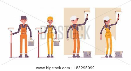 Set of male and female worker wearing bright orange, yellow overall, making repairs indoor, working with walls, painting, standing and holding roller and paint, full length, isolated, white background