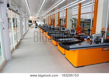 ROME, ITALY. March 26, 2014: A series of cash registers, cash desk, in a large supermarket (M.A. Supermarket) of new opening in Rome in Italy.