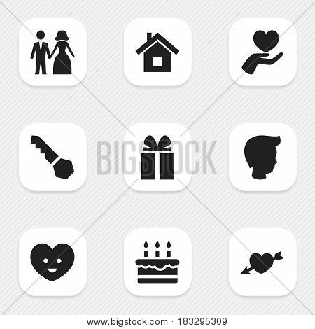 Set Of 9 Editable Kin Icons. Includes Symbols Such As Lock, Gift, Boy And More. Can Be Used For Web, Mobile, UI And Infographic Design.