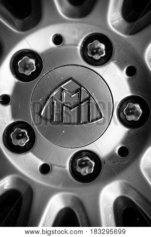 BERLIN - JUNE 14 2015: Detail of fastening of a wheel of a full-size luxury car Maybach 57. Black and white. The Classic Days on Kurfuerstendamm.