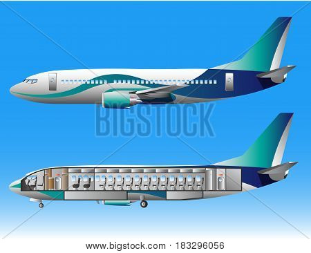 Airplane outside and inside isolated. Vector illustration