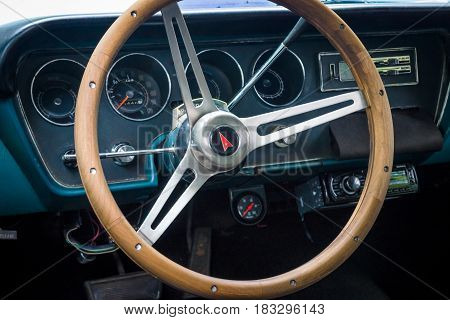 BERLIN - JUNE 14 2015: Cabin of a mid-size car Pontiac Tempest 1967. The Classic Days on Kurfuerstendamm.