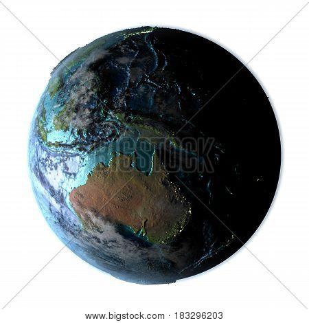 Australia On Detailed Planet Earth