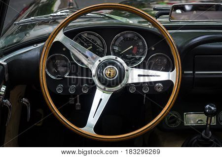 BERLIN - JUNE 14 2015: Cabin of a luxury car Alfa Romeo 2600 Spider (Tipo 106) 1963. The Classic Days on Kurfuerstendamm.