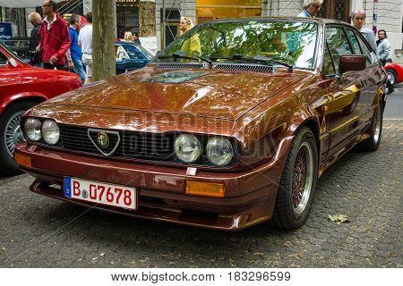 BERLIN - JUNE 14 2015: Sports car Alfa Romeo GTV6. The Classic Days on Kurfuerstendamm.