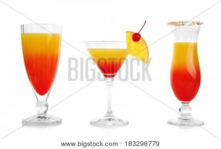 Tequila sunrise cocktails, isolated on white