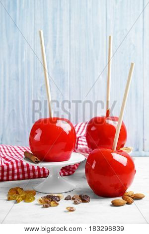 Delicious holiday apples on wooden table