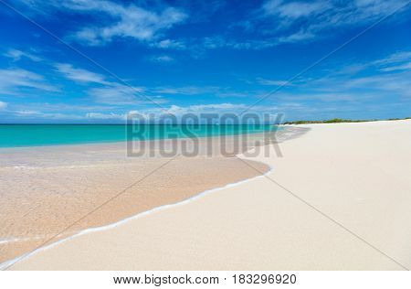 Idyllic tropical beach on Barbuda island in Caribbean with pink sand, turquoise ocean water and blue sky
