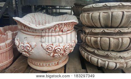 Shop with decorative vessel. Nice vessel in shop