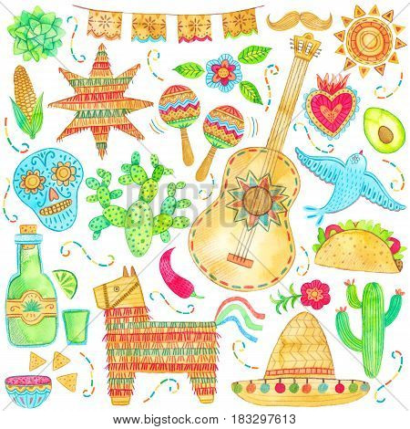 Watercolor mexico, cinco de mayo illustration on white