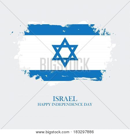 Israel Happy Independence Day greeting card with brush stroke background in israeli national colors. Vector illustration.